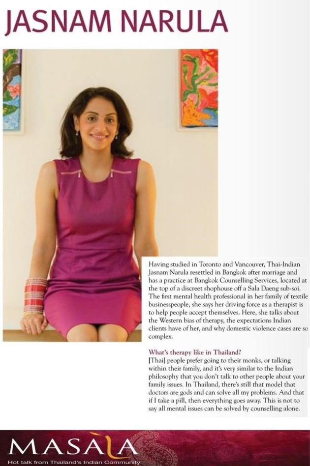 Bangkok Counselling Service    Jasnam Narula   Masala Magazine