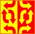 Red right and yellow left arrows logo